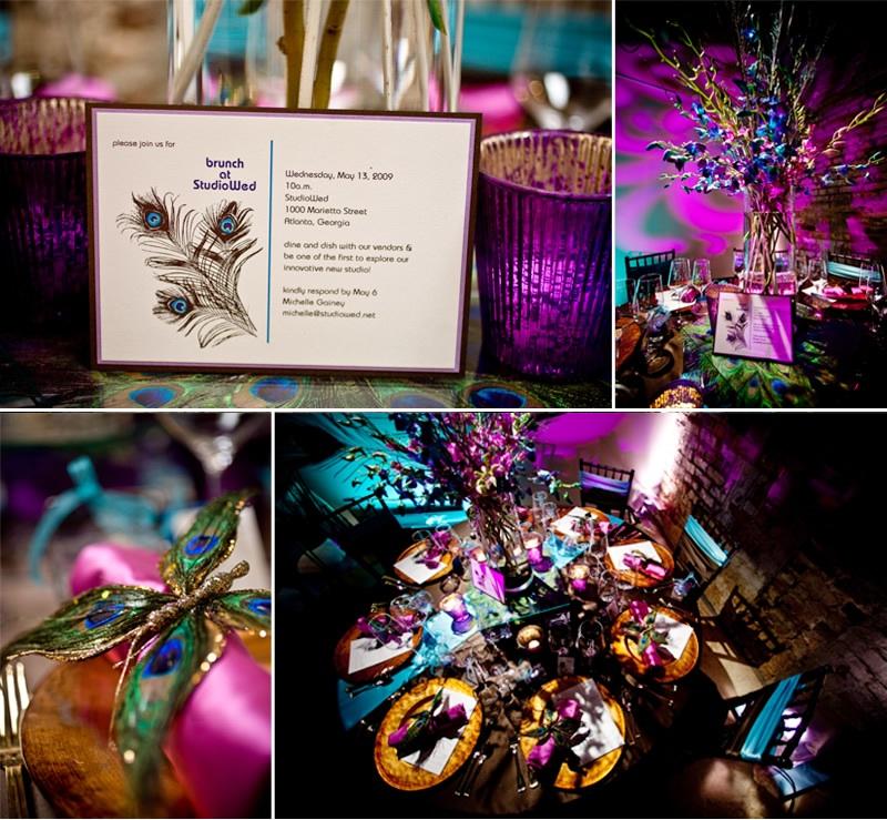 decoratie bruiloftsthema pauwen