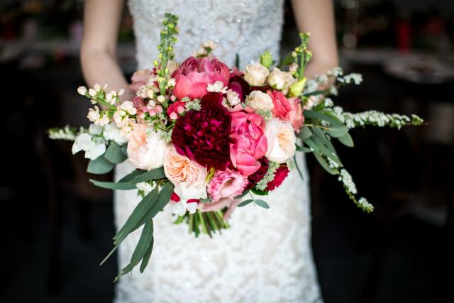 boeket bruid roze rood