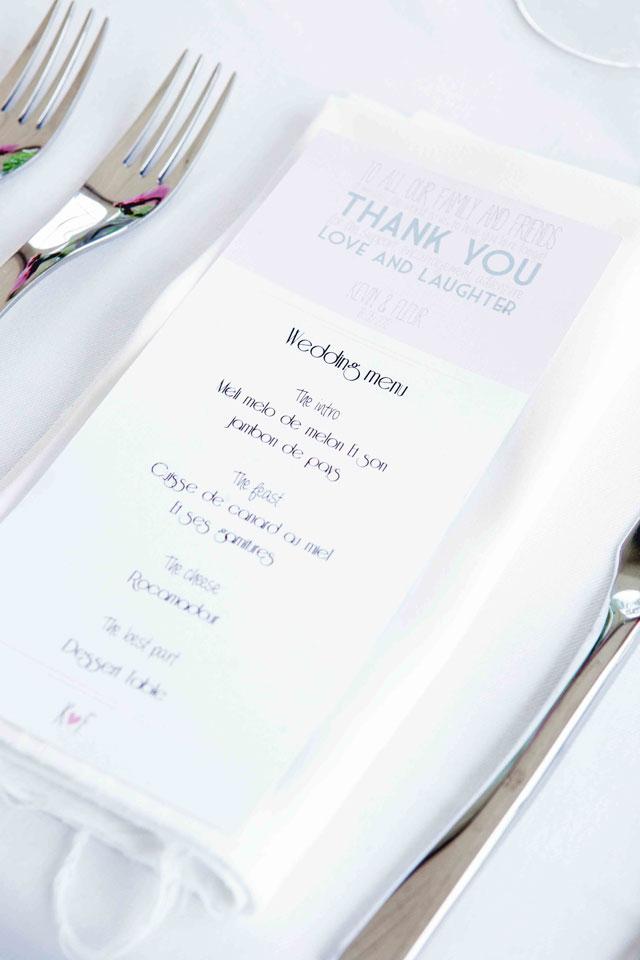 menukaart trouwdag