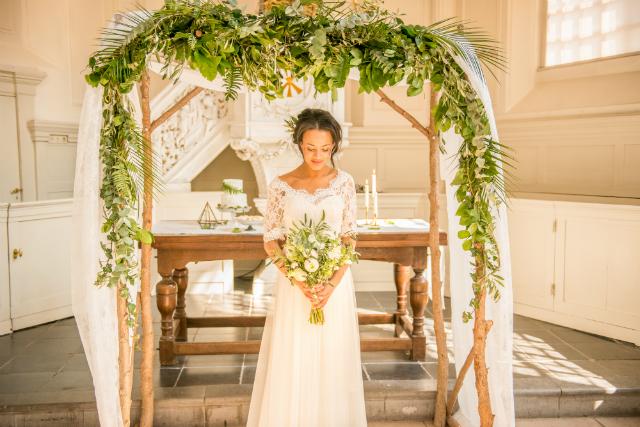 backdrop bruid boeket wit