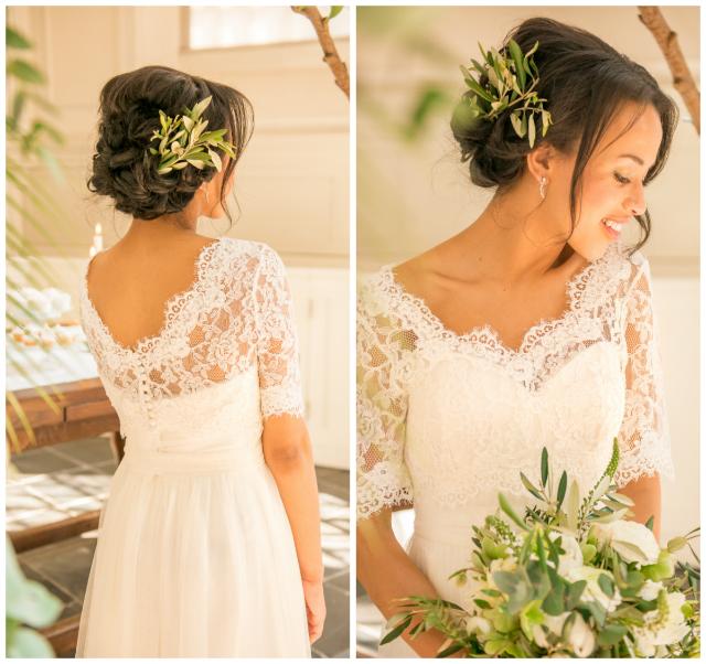 bruid trouwjurk kant boeket wit