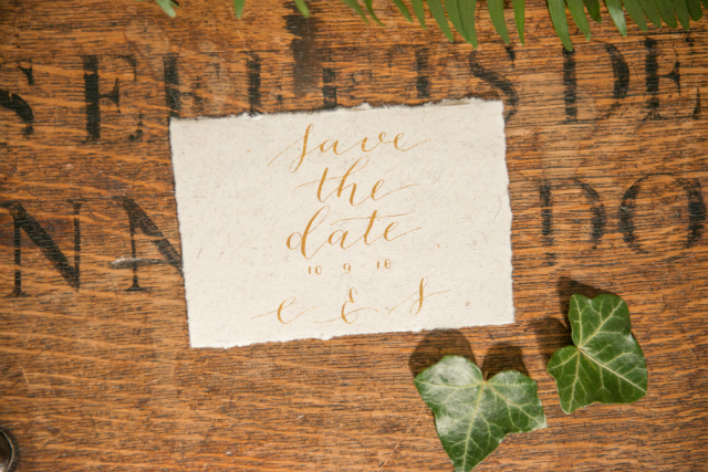 save the date goud kalligrafie