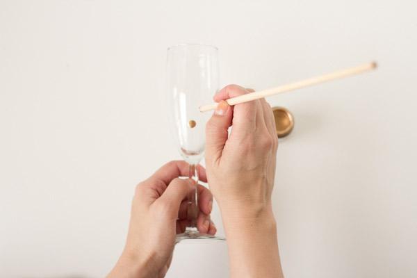 champagneglazen stippen