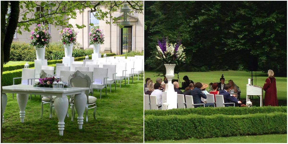 Een buiten bruiloft in de tuinen van paleis landgoed huis de voorst - Prieel buiten ...