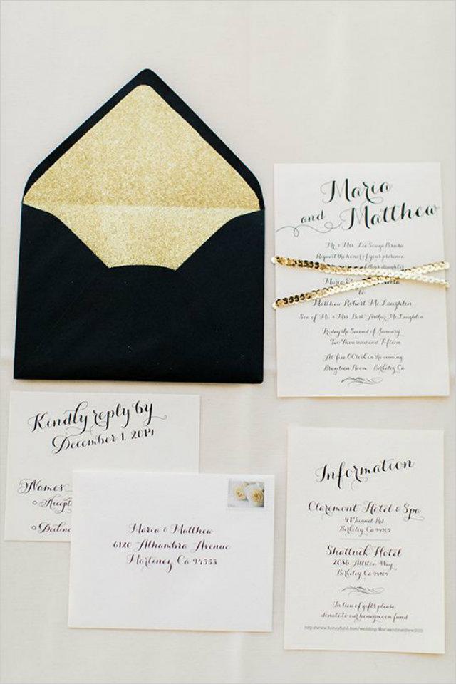 uitnodiging zwart goud
