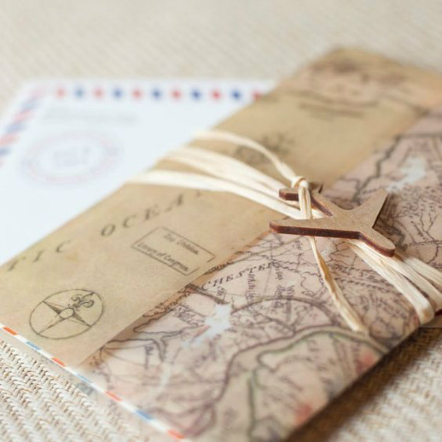 wereldkaart uitnodiging bruiloft