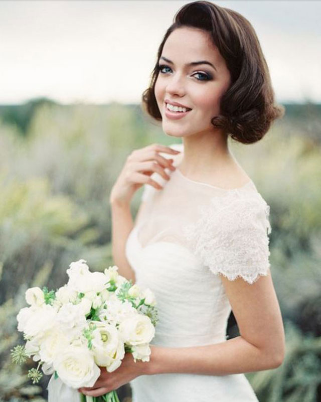 Kort haar bruidkapsel