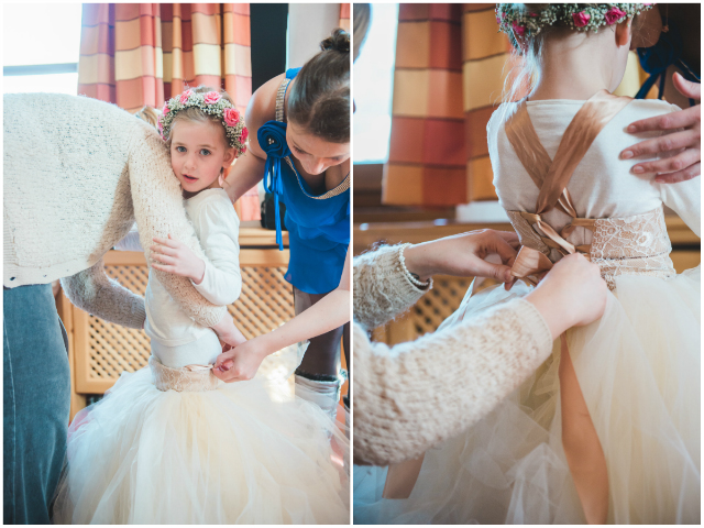 aankleden bruidsmeisje
