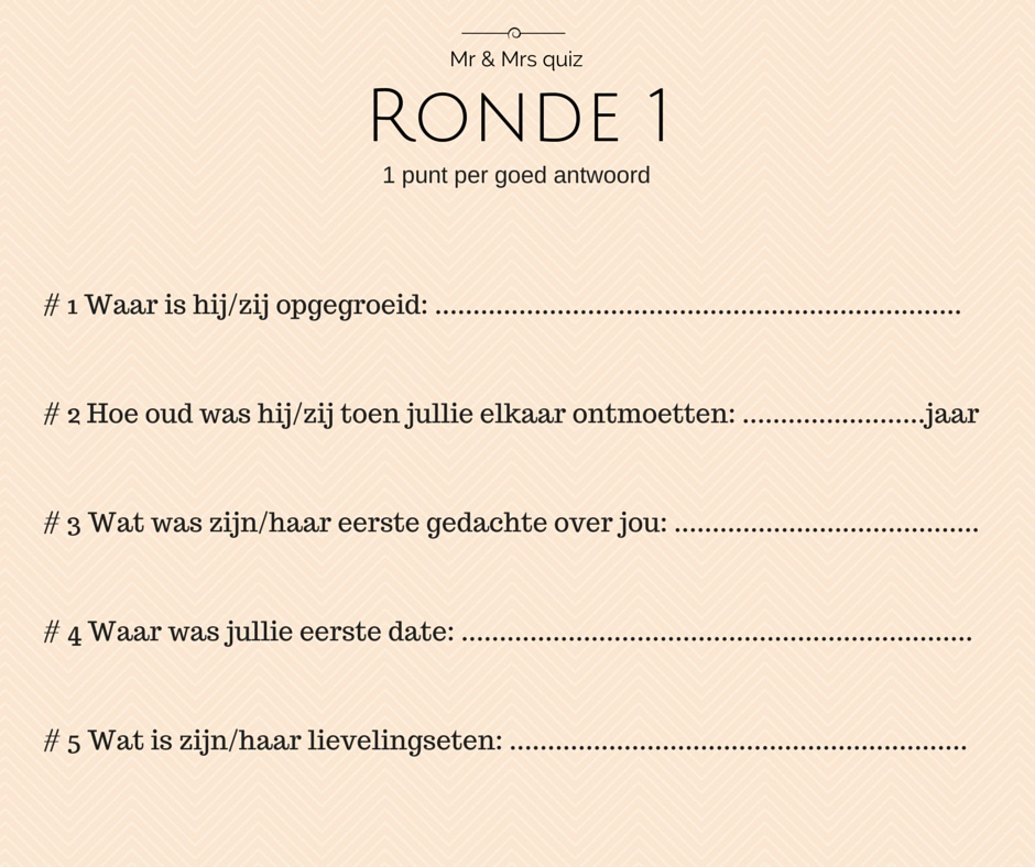 Mr en Mrs quize ronde 1