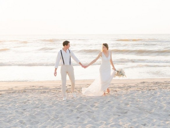 styled shoot a pastel blue beach wedding