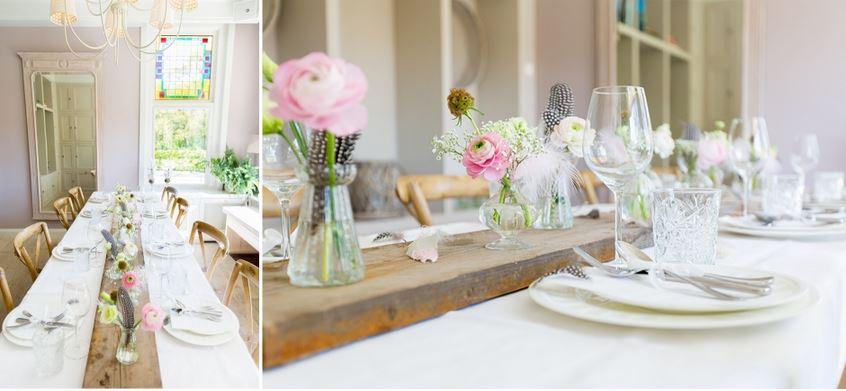 Bruiloft thema met veren for Tafeldecoratie bruiloft