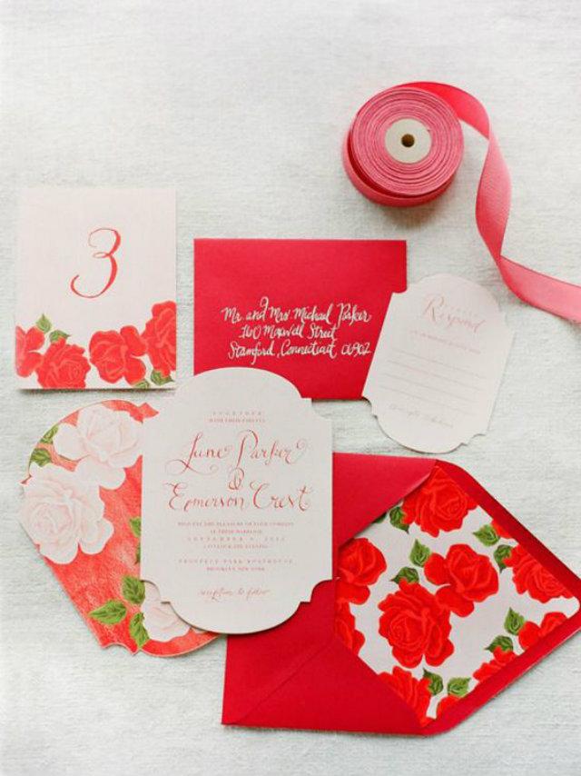 rode uitnodiging bruiloft