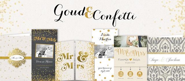 Trouwkaarten Confetti en Goud