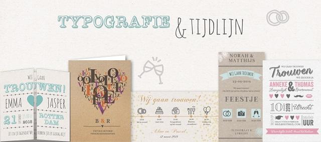 Trouwkaarten typografie en tijdlijn