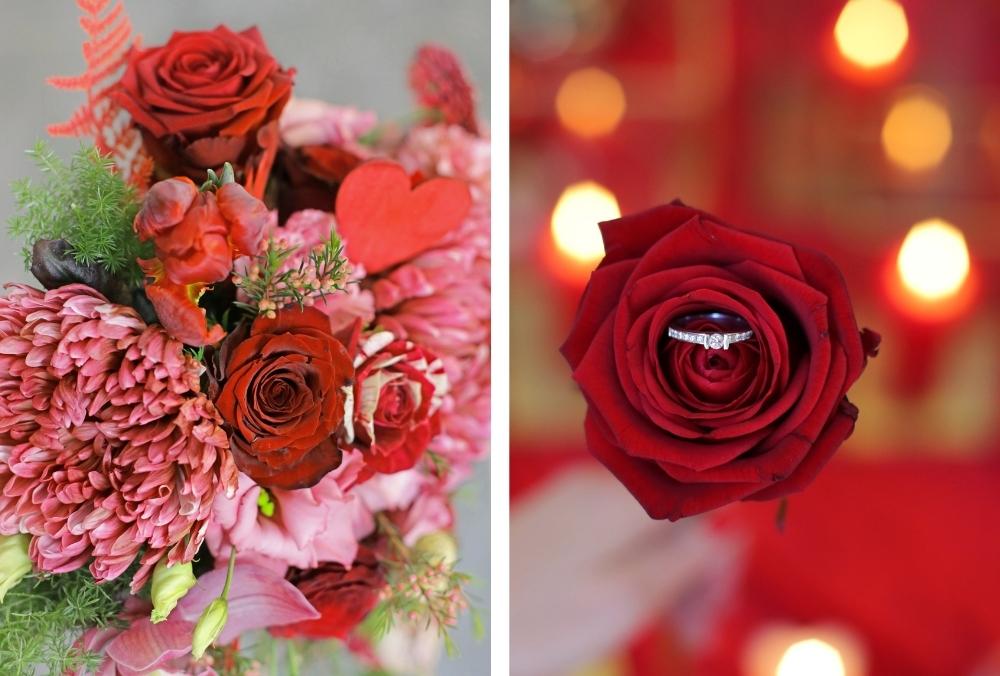 huwelijksaanzoek op valentijnsdag tussen rode rozen 21