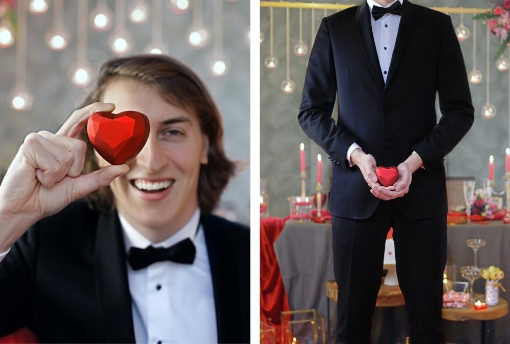 huwelijksaanzoek op valentijnsdag tussen rode rozen 22