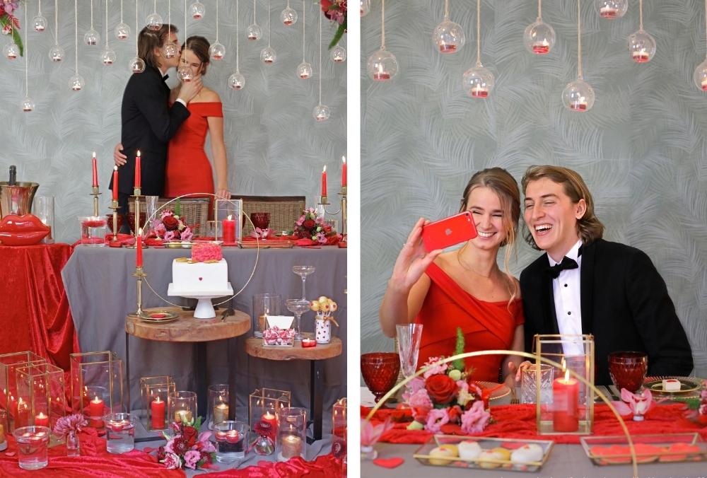 huwelijksaanzoek op valentijnsdag tussen rode rozen 26