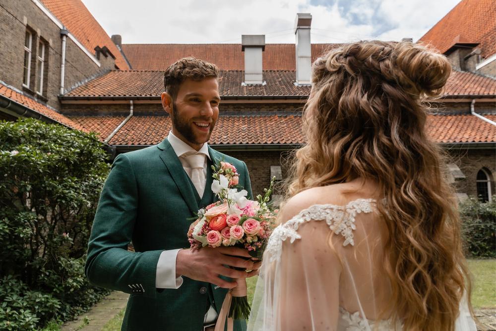 wanneer elkaar voor het eerst zien bruiloft first look - dhr en mw fotografie